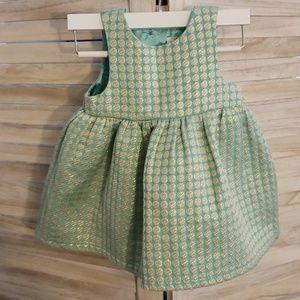 Sage Green and Gold Polka Dot Fancy Toddler Dress
